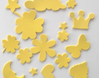 set of DECORATIONS adhesive x 15 - foam color is yellow