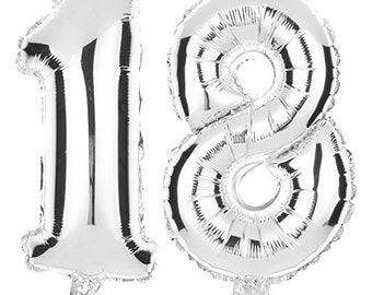 18 Number Balloons for 18th Birthday Party, Helium Balloon Numbers (Silver)