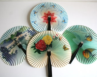 Set of Four Chinese Paper Fans