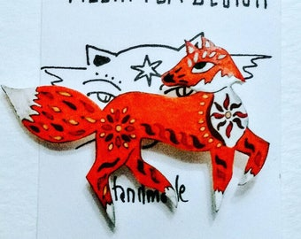 Foxy brooch-brooch-fox-gift for fox lovers-badge-foxy badge-jewellry-costume jewellery-fox jewellery-foxes-accessories