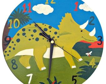Dinosaur Clock / Children's Wooden Wall Clock - Hand Painted / Nursery Decor