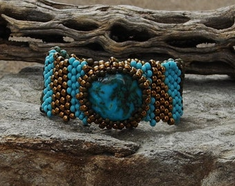 Free Form Peyote Stitch Beaded Bracelet Beaded Cuff - Beaded Cabochon - Bead Weaving  - Kingman Turquosie