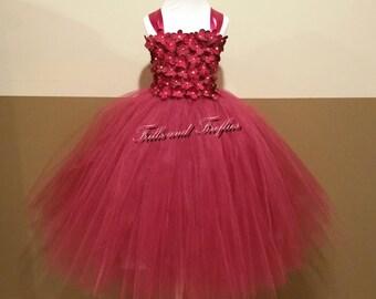 Flower Girl Dress  / Burgundy Flower girl Dresses / Bridesmaid Dress / Princess Dress / Formal Dress / Prom Dress / Girls dresses / Wedding