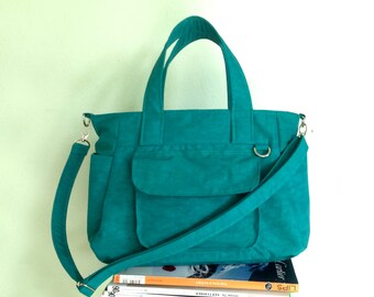 SALE - Teal Water-resistant Nylon Bag with 3 Compartments & 4 Exterior Pockets / Handbag / Messenger Bag / Tote Purse - Mini Nuch