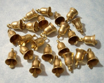 12 Small Brass Bells 10mm Vintage Brass Bell Charms
