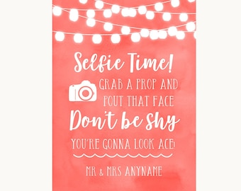 Coral Watercolour Lights Selfie Photo Prop Personalised Wedding Sign