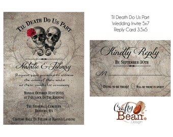 Til Death Do Us Part Wedding Invitation - DIY Printable With Reply Card
