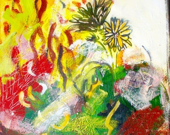 Chrysanthemum (Endurance), acrylic on stretched canvas with rice paper collage, 11 by 14-inches, by Cynthia Black
