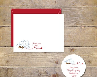 Baby Shower Thank You Cards . Baby Thank You Cards . Thank You Notes Baby - Thank You Notes . Gender Neutral . Recycled - Elephant Pull Toy