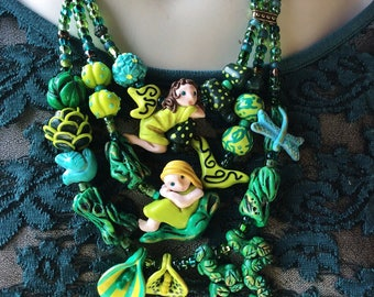 Forest Fairy Statement Necklace / Green Fairy Jewelry / Faerie Necklace / Pixie Necklace / Whimsical Necklace