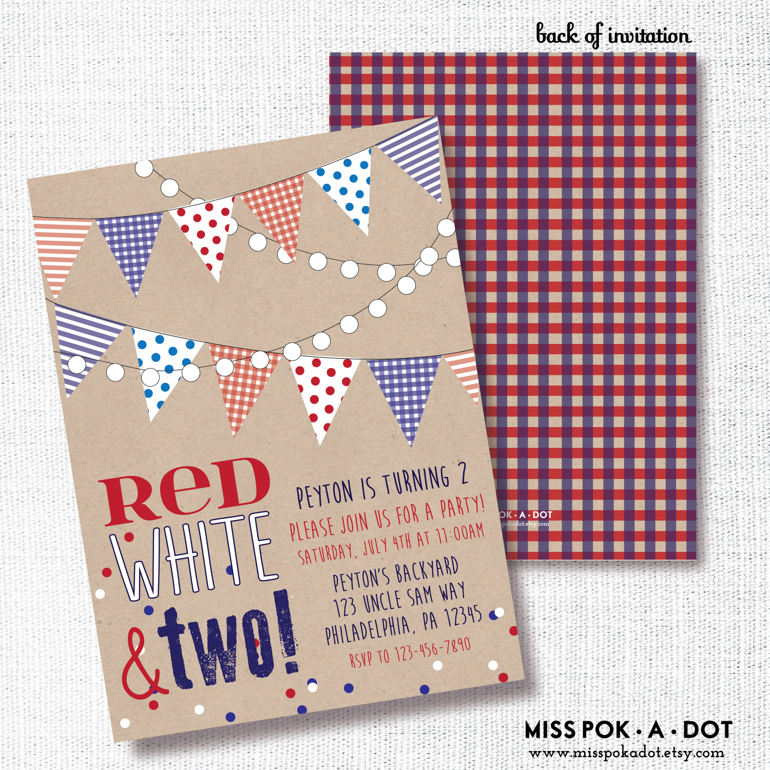 Patriotic 2nd Birthday Party Invitation Printable Red White