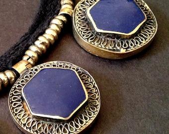 LAPIS LAZULI Embossed Tibetan Silver Pendant Choker Necklace / Unknown Origin / Bold and Chunky Statement Jewelry