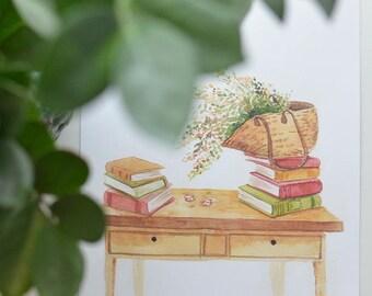 Reading Desk Art Print, Book Art Print, Book Art Painting