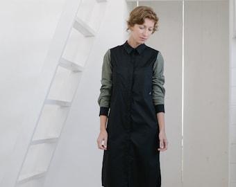 Shirt dress Women's shirt dress Black dress Black shirt dress Cotton shirt dress Cotton dress Long sleeves Office dress Winter dress