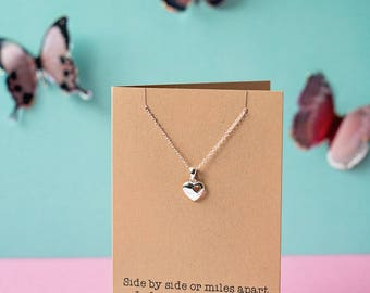 Side by Side heart necklace - Sister, Cousin, Best friend etc