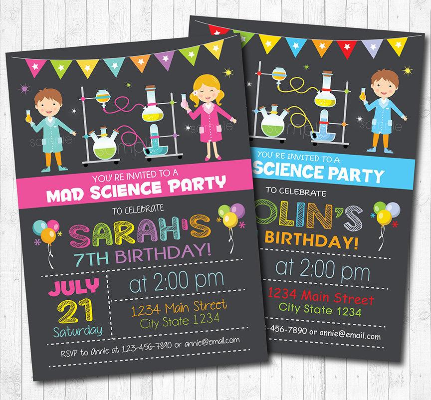 Science invitation Science invite Science birthday Mad