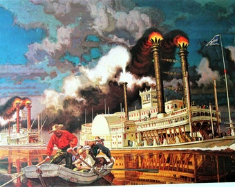 """Dean Cornwell Numbered Steamboat Print """"The Race Between the Robert E. Lee & The Natchez"""" 1950 (Boatman's National Bank of St. Louis)"""