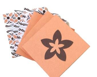 6 Gift Tags Brown Coral Orange Flower