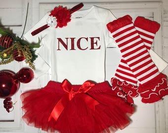 Nice Baby Girl Christmas Outfit - Baby Girl Christmas Onesie - Christmas Nice List Outfit