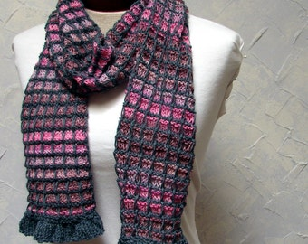 Pattern for Plaid Scarf with Ruffle Edging Hand knit Scarf Pattern