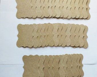 40 Thick cardboard fancy die cut labels for scrapbooking, stamps, and crafting
