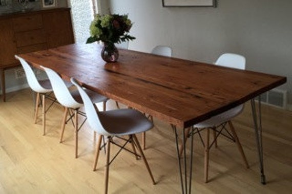 Reclaimed wood dining table with hairpin legs handmade in Reclaimed wood furniture portland oregon