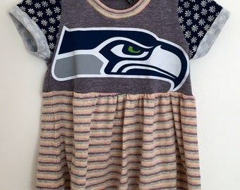 Upcycled Seattle Seahawks Peplum Top 12-18 Months