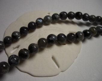 Sale, natural Labradorite beads, blue flash, full strand, 6mm round beads, black labradorite, 6mm gemstone beads, natural larvikite beads