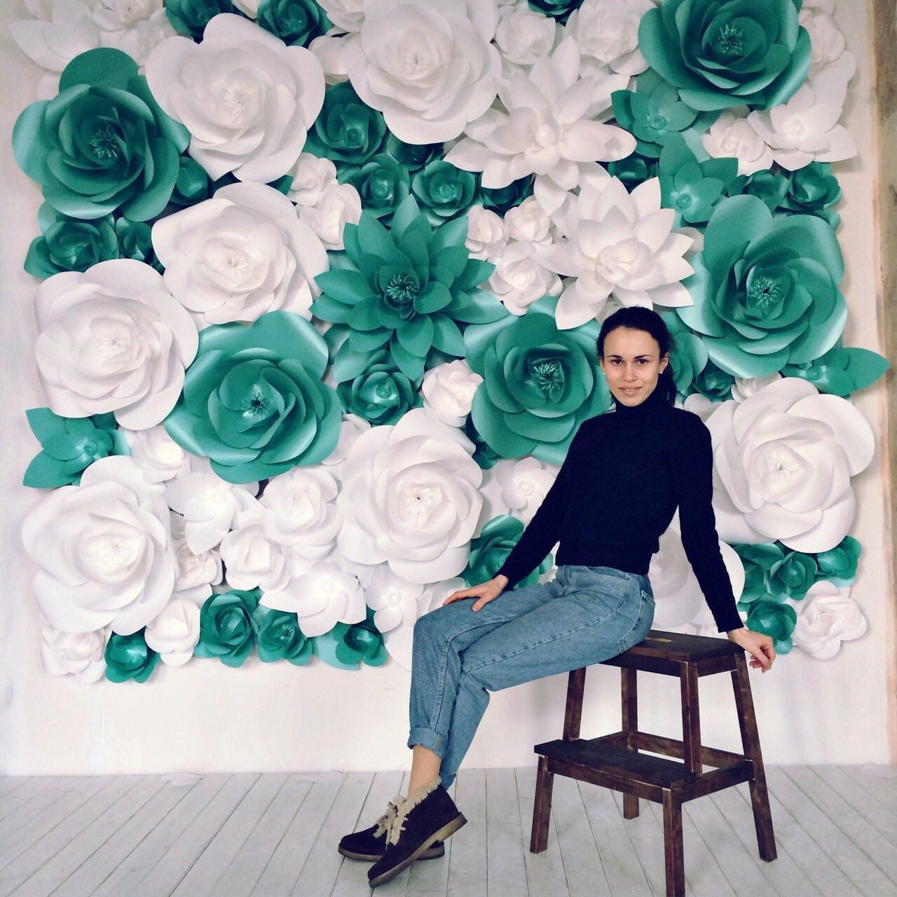 Giant paper flowers wall paper flower wall wedding wall zoom mightylinksfo
