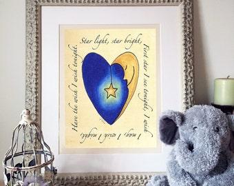 Nursery Art, Nursery Decor, Printable Wall Art, Nursery Rhyme, Instant Download, digital print, Kids Wall Art, Kids Room Decor, Starlight