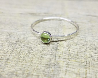 Peridot Ring Sterling Silver Stacking Ring