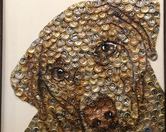 Dog Bottle Cap Art 'Jake'