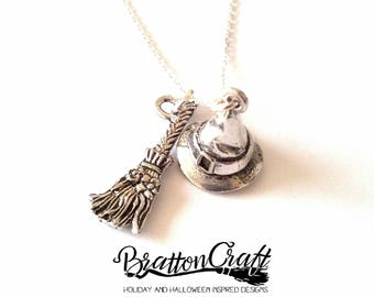 Silver Witches Hat and Broom Necklace - Wizard Hat Necklace - Witch Broom Necklace - Fun Halloween Necklace - Samhain