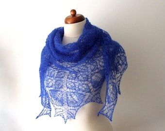 blue bridal lace shawl, cobalt triangle scarf, wedding wrap, clearance sale