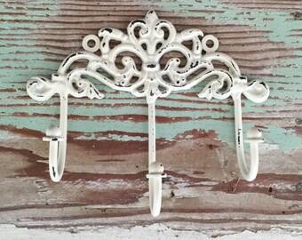 Decorative Wall Hook - Cream  - White - Shabby Chic Hook  - French Country Decor - Key Hook - Shabby Chic Decor -Jewelry Holder