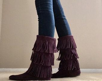 Vintage Layer Fringe Calf Hi Purple Suede Minnetonka Moccasin Boot Bootie -- womens 9