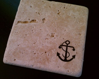 """Anchor Tile Drink Coasters, 4"""" x 4"""" Tumbled Stone Nautical Gift"""