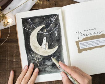 Blank and January Printable for Journal or Planner | Bear and Bunny on the Moon Painting