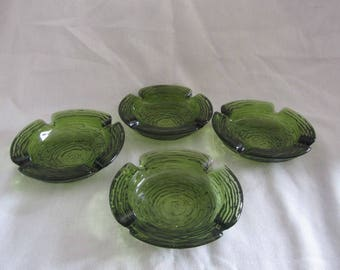 Retro Set of 4 Ashtrays - Soreno Pattern Avocado Green