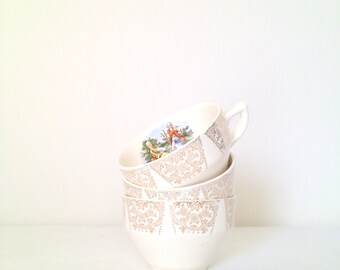 Vintage Sebring Chantilly Tea Cup Sebring Pottery Co 22 K Gold Filigree Made in USA 1940s Romantic Home