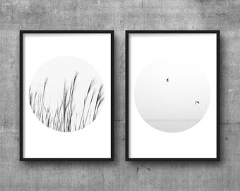 Black and white print minimalist SET OF 2 photography Minimalist home decor Wall pictures Digital print Nature photography Poster set of two