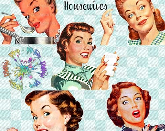 Retro Housewives 50s Vintage | Mid Century Modern Women | Clipart Instant Download