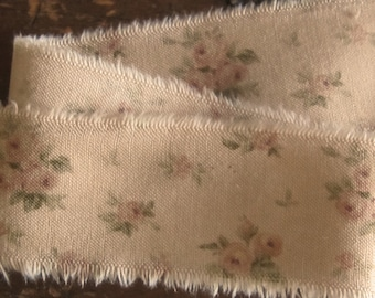 Tattered Tea Stained Fabric Ribbon Warm Tea with Blush Pink Roses  Rare Retired Fabric