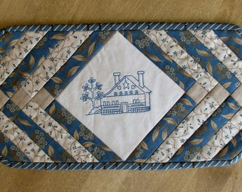 Blue Saltbox House Candle Mat