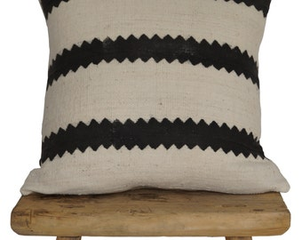 Authentic African Mudcloth Zigzag Stripes Pillow Covers
