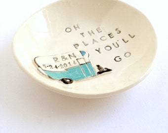 Personalized graduation gift ring holder custom engagement gift ring dish handmade by Cathie Carlson