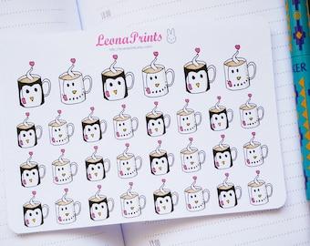 Winter Mugs (Penguin/Snowman) Planner Stickers  | Stationery for Erin Condren, Filofax, Kikki K and scrapbooking
