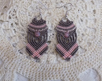 Pink and Antique Brown Macrame Earrings Micro Macrame