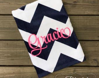 Monogrammed Beach Towel-Personalized Towel-Girls Monogram Beach Towel-Pool Towel-Navy and White Quatrefoil Towel