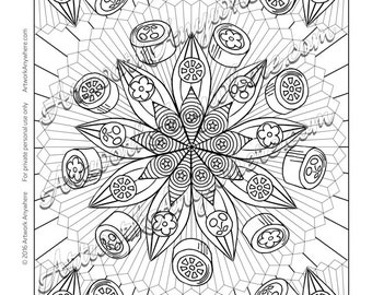 Candy Jungle Fruit and Flower Mandala - Adult coloring page printable download from Candy Kaleidoscope Artwork Anywhere ~hand drawn candies